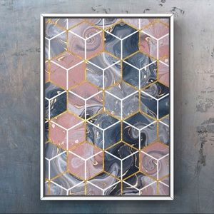 Acrylic pour pink grey texture gold cube art print
